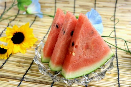 On a hot day, watermelons