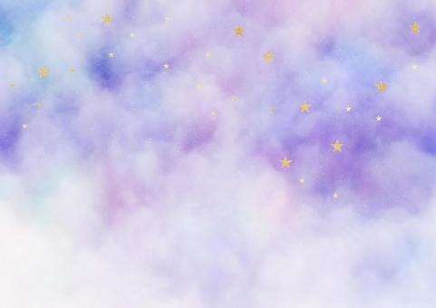Nebula and golden glitter star background illustration material (purple / blue)