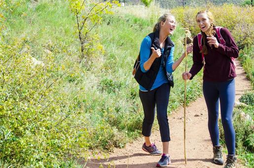 Two women walking along the path 4