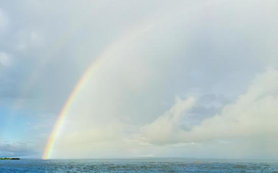 Double rainbow rainbow over the river
