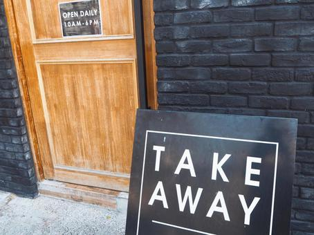 Cafe storefront TAKE AWAY (take-out) signboard