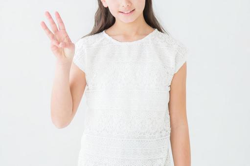 Girl doing 3 gestures