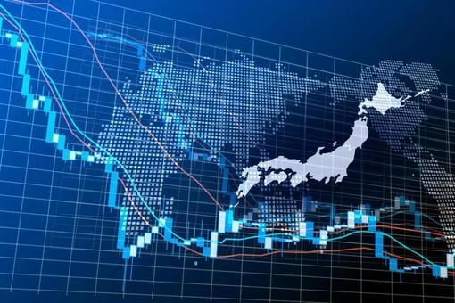 Japan blue digital stock chart image