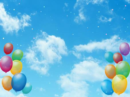 Blue sky, balloon and confetti background