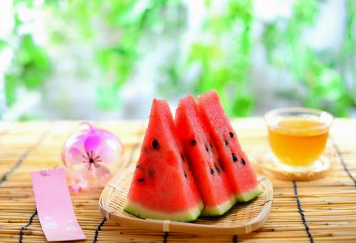 Cold watermelon on hot summer days
