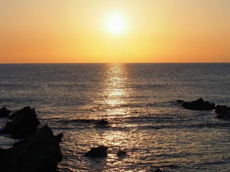 일출에서 황금빛 바다