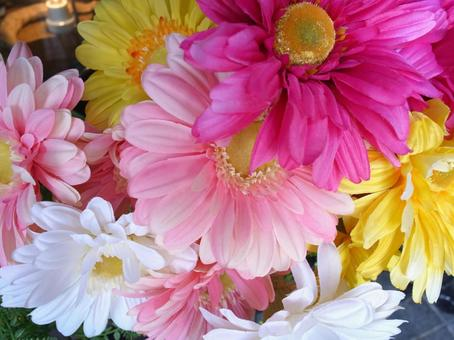 Colorful artificial flowers