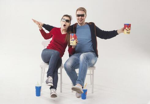 Couple watching 3D movies 26