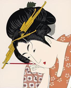 Ukiyoe style style beautiful painting