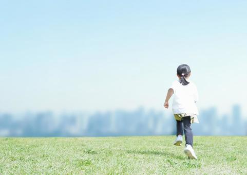 Running children and urban background