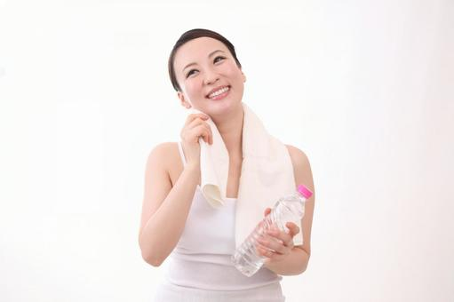 Woman with plastic bottle 8