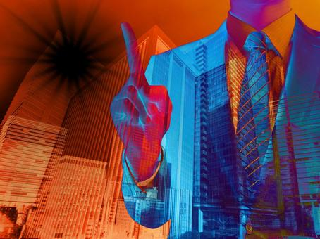 Man pointing to dark business point-cityscape background