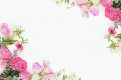 Pink flowers frame