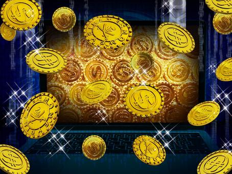 PC and gold coins