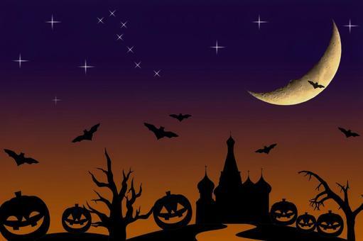Halloween star crescent pumpkin bat image psd