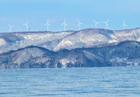 Winter landscape windmill