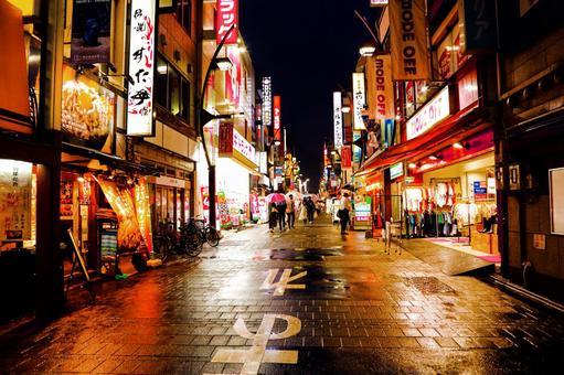 Red light district on a rainy night