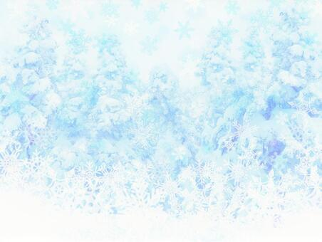 Mysterious winter blue forest and snowflakes
