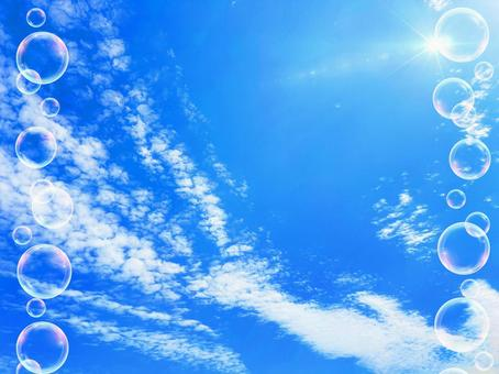 Refreshing blue sky and bubble background material_a_08