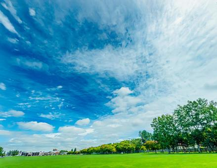 Clear sky and lawn Obihiro Midorigaoka Park All 6 types (1) Search word: turf Creator name: YUTO @ PHOTOGRAPHER