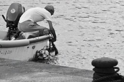 부두에서 작업하는 어부
