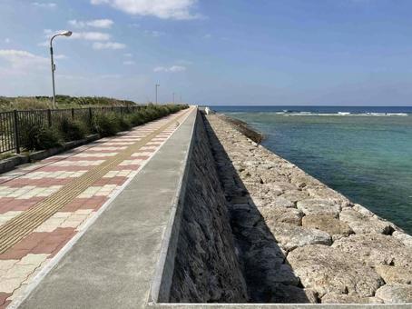 Sandy coastal promenade