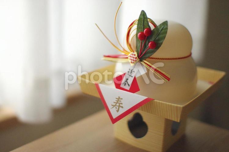 鏡餅(橙・扇無しver)の写真