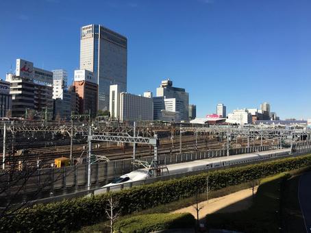 Shinkansen seen from Shinagawa Station
