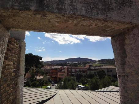 View from the square of Colonia Guell Church