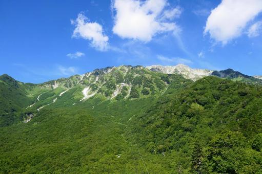 중부 산악 국립 공원, 여름 다테야마. 도야마, 일본. 8 월 하순.