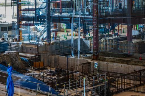 요코하마 · 미나토 미라이의 고층 빌딩 건설 현장 (기초 공사)