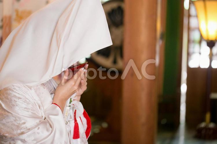 三々九度をする花嫁の写真