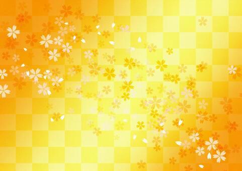 樱花背景_黄色,橙色