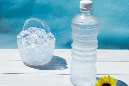 Midsummer image with a PET bottle containing water and ice