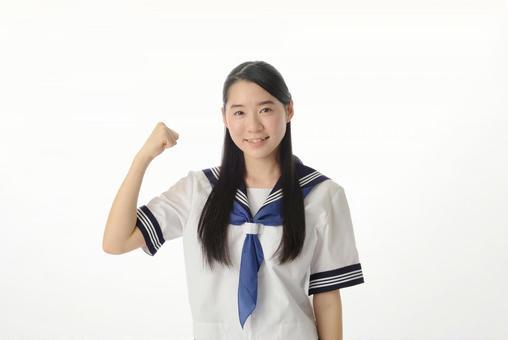 Girls' junior high school student in pose 1