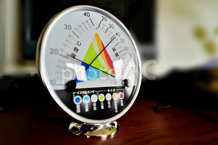 温湿度計 インフルエンザ対策 健康,予防,病気,薬,患者,錠剤,病院,薬品,医薬品,メディシン,治療,診察,疾病,治す,効果,効能の写真