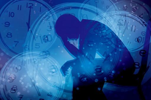 스트레스를 안고있는 남성과 시간 - 파란색 배경