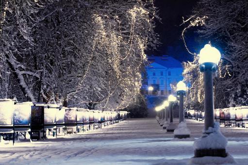 Winter night city 4