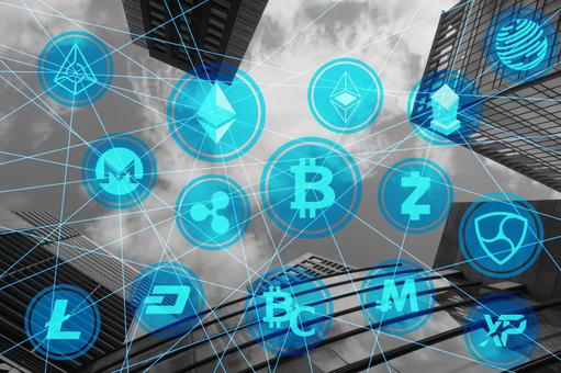 Business background with various virtual currencies