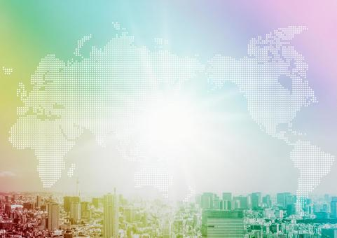 Rainbow-colored cityscape and world map
