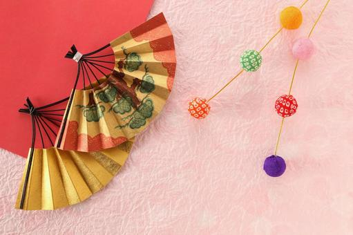 Fan, origami and rice cake flower