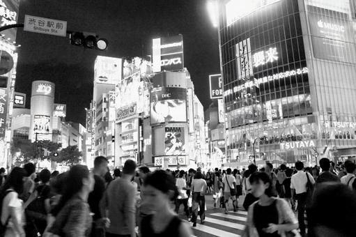 Black and white Shibuya scramble intersection