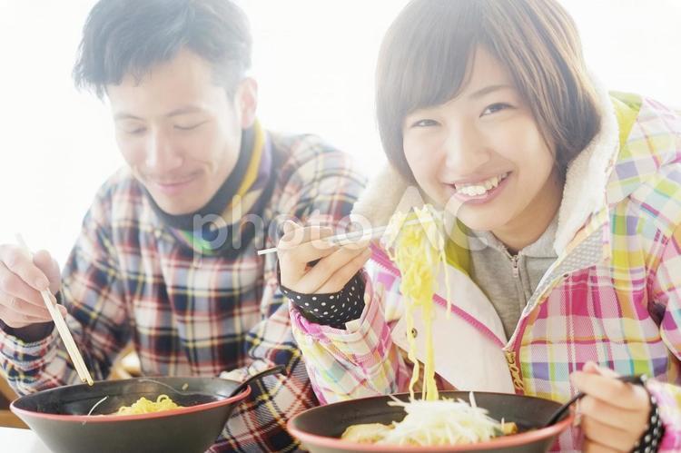スキー場にて食事2の写真