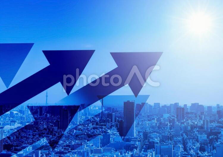 上昇のイメージ 都市背景の写真