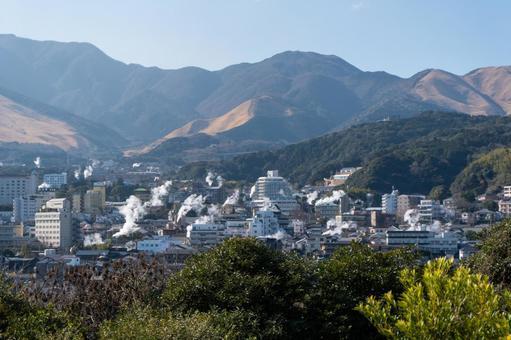 벳푸 온천의 수증기 전망대에서 전망