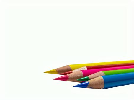 Color pencils stationery white background background through psd