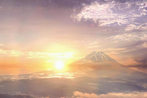 Romantic view of Mount Fuji and sunset