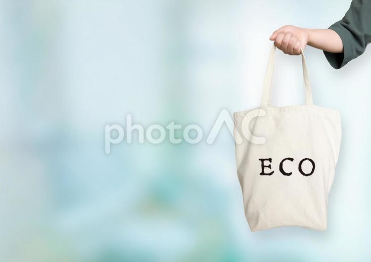 エコバック グリーン背景の写真