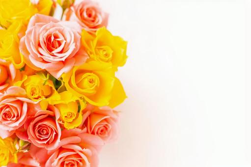 A bouquet of vivid pink and yellow roses