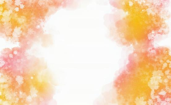Glitter background with autumn leaves dancing Cute orange gradation [Ideal for autumn materials ♪]